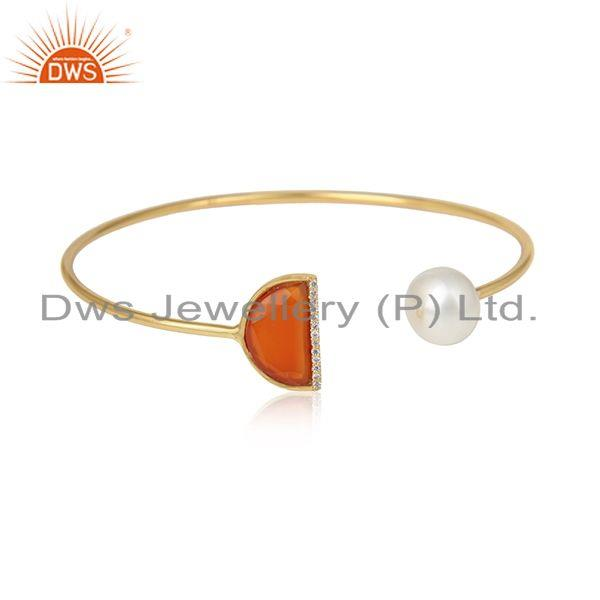 CZ Natural Red Onyx Gemstone Gold Plated Silver Cuff Bangles