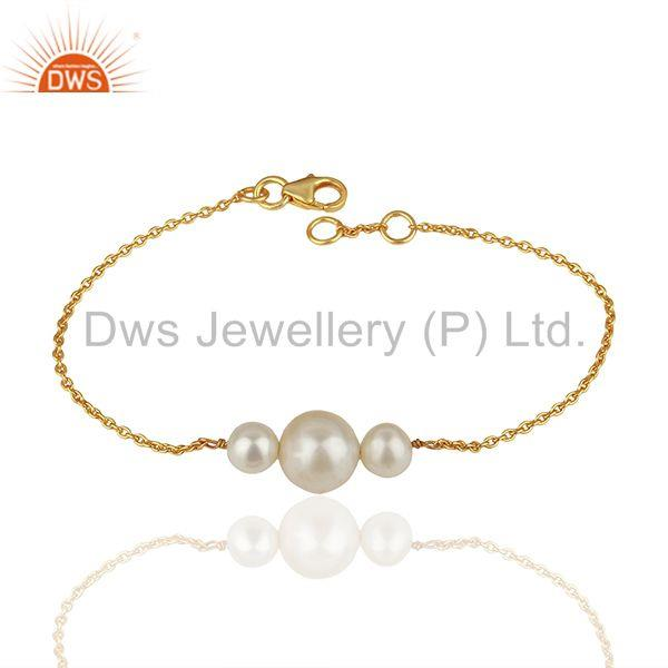 Natural Pearl Gold Plated 925 Silver Chain Bracelet Wholesale