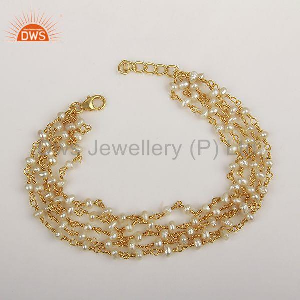 Natural Beaded Pearl 925 Silver Gold Plated Multi Strand Bracelet