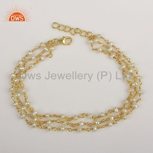 Multi Strand 925 Silver Gold Plated Beaded Pearl Bracelet Manufacturer