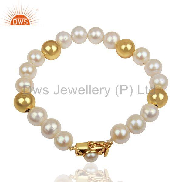 Single Strand Gold Plated 925 Silver Pearl Bracelet Manufacturer