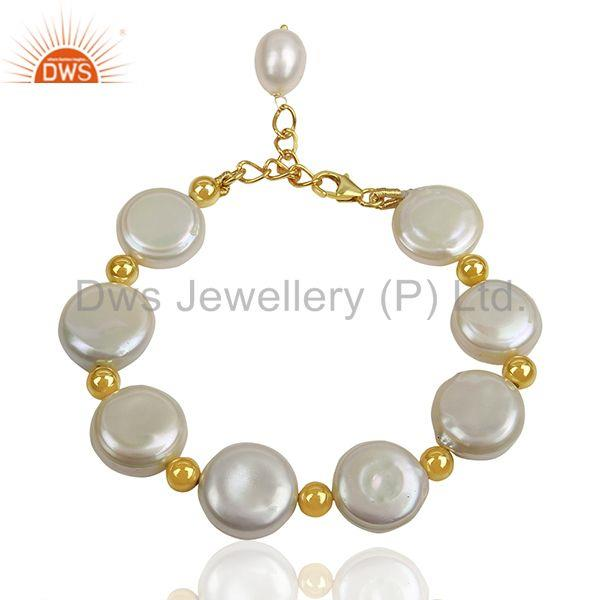 Natural Pearl Gold Plated Solid Silver Chain bracelet Manufacturer