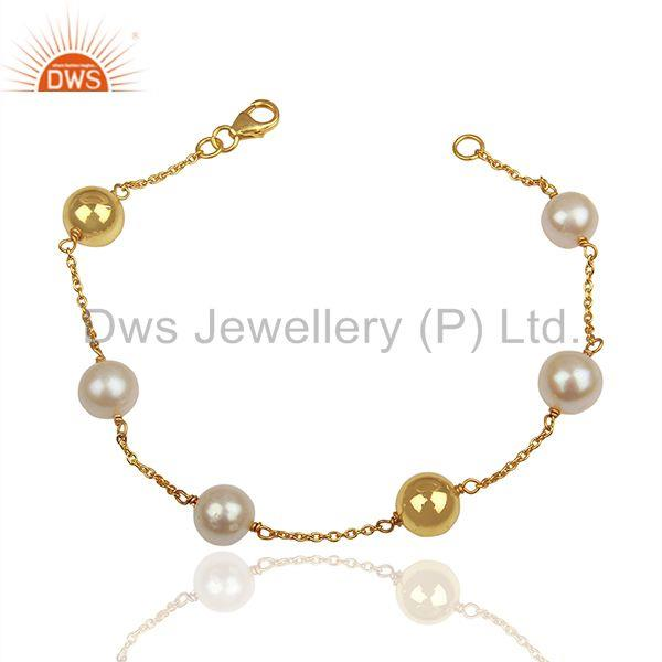 Natural Pearl and Gold Plated 925 Silver Ball Beads Chain Bracelet
