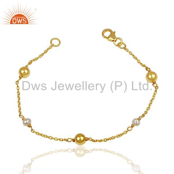 Designer Roung Pearl and Solid Silver Ball Beads Gold Plated Bracelet