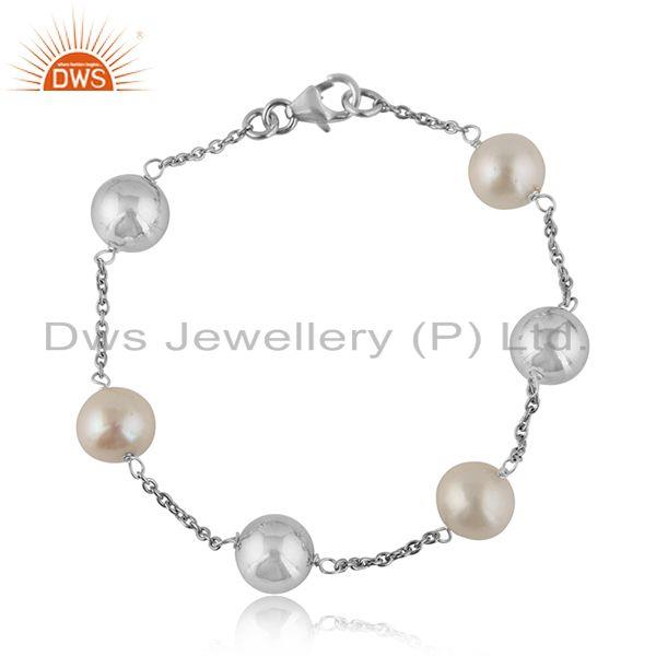 White Rhodium Plated Sterling Silver Pearl Ball Beaded Bracelet