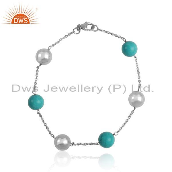 Plain Cultured Turquoise Silver White Rhodium Bracelet