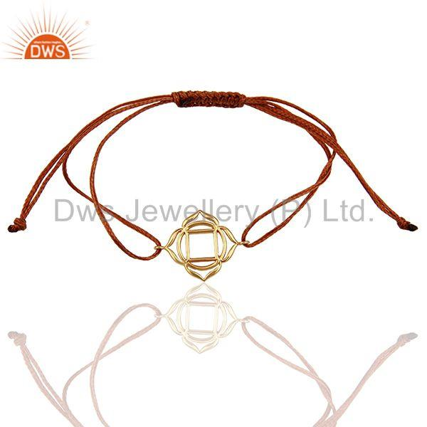 Muladhara Chakra 925 Sterling Silver Rose Gold Plated On Brown Thread Bracelet