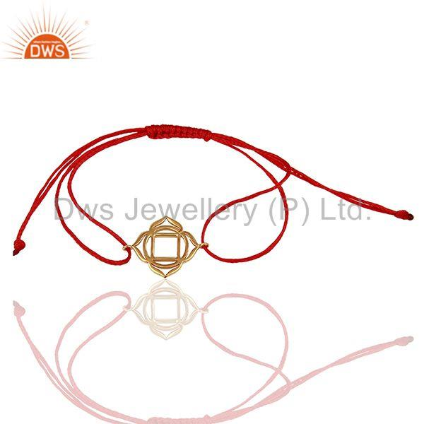 Muladhara Chakra 925 Sterling Silver Rose Gold Plated On Red Thread Bracelet