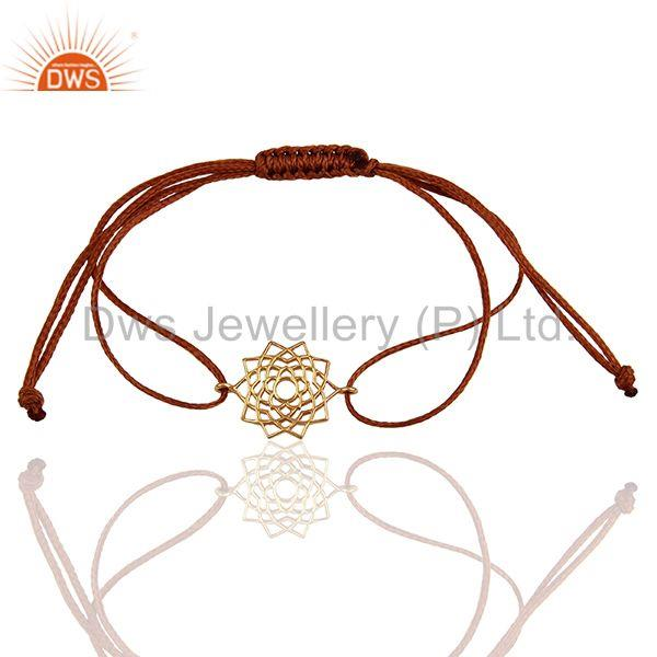 Sahasrara 925 Sterling Silver Rose Gold Plated On Brown Thread Bracelet Jewelry