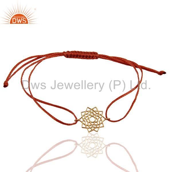 Sahasrara 925 sterling silver rose gold plated on orange thread bracelet