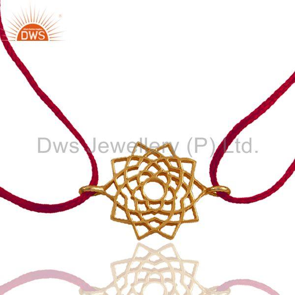 Pink Thread Adjustable Gold Plated Silver Charm Bracelet Manufacturer