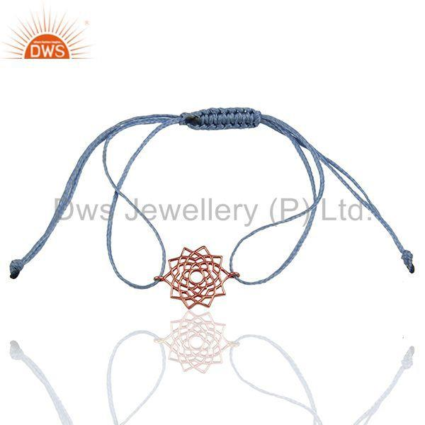 Sahasrara 925 Sterling Silver Rose Gold Plated On Sky Blue Thread Bracelet