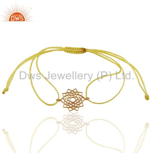 Sahasrara 925 Sterling Silver Rose Gold Plated On Yellow Thread Bracelet Jewelry