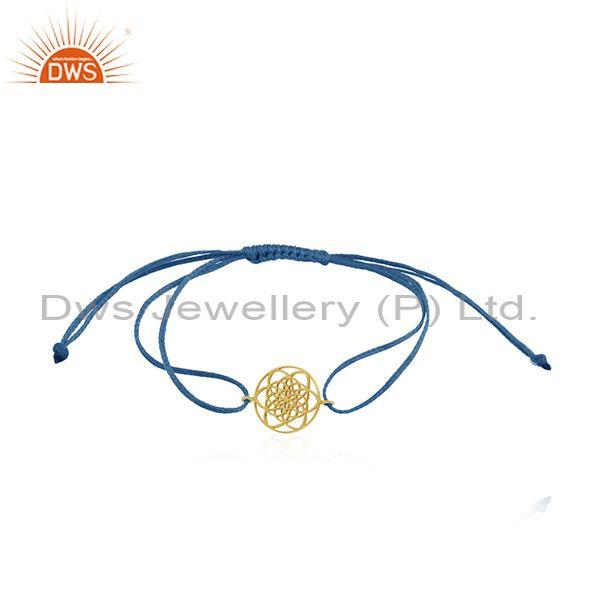 New Arrival Gold Plated Sterling Silver Adjustable Macrame Bracelet