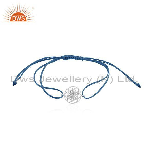 925 Sterling Plain Silver Adjustable Macrame Bracelet Manufacturers