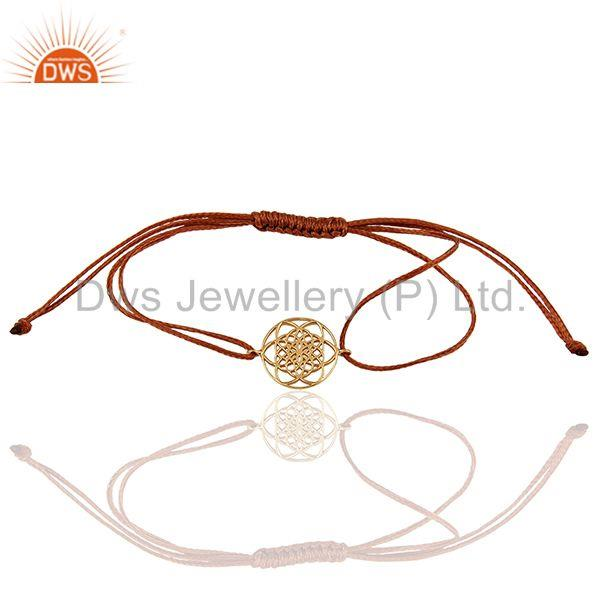 Flower Of Life 925 Sterling Silver Rose Gold Plated Brown Thread Bracelet