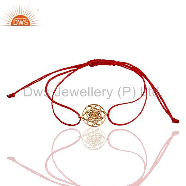Flower Of Life 925 Sterling Silver Rose Gold Plated Dark Red Thread Bracelet