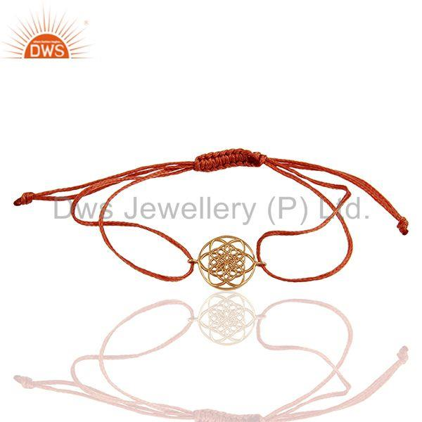 Flower Of Life 925 Sterling Silver Rose Gold Plated Orange Thread Bracelet