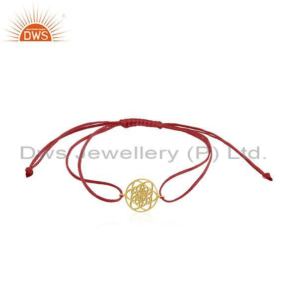 Handmade yellow gold plated sterling plain silver bracelet wholesale