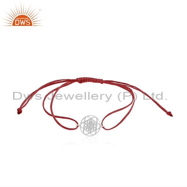 Pink Cord Fine Sterling Plain Silver Adjustable Bracelet Manufacturers