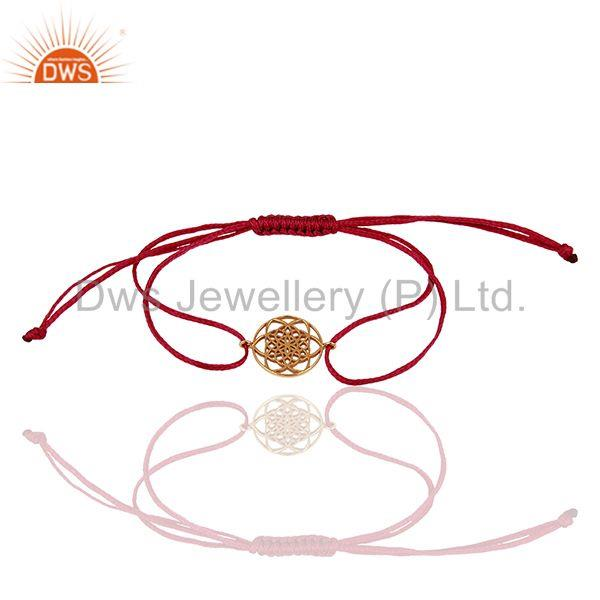 Flower Of Life 925 Sterling Silver Rose Gold Plated Pink Thread Bracelet