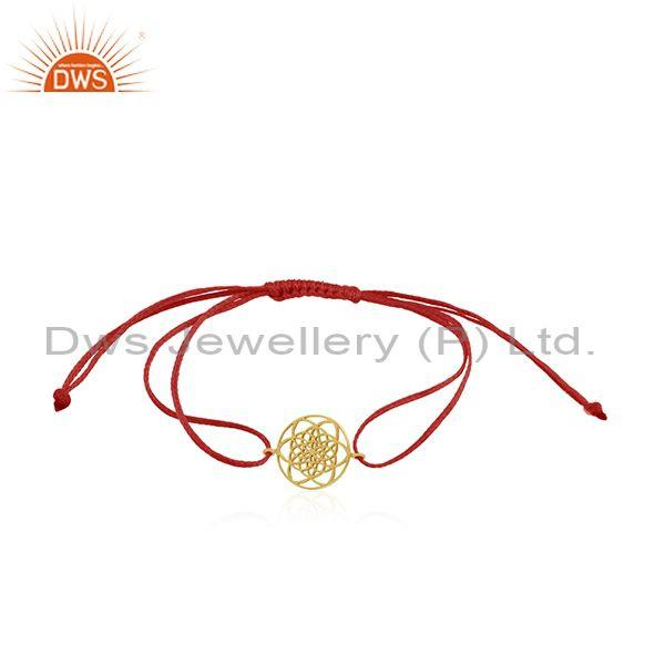 Red Cord Adjustable Gold Plated 925 Silver Bracelet Manufacturer
