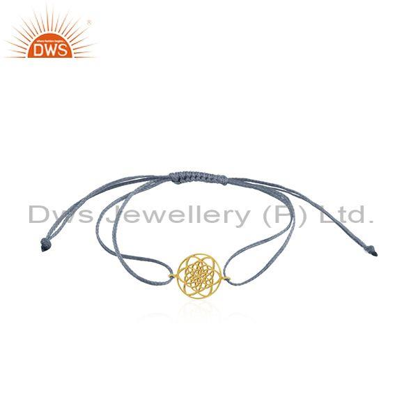 Sky Blue Cord Gold Plated Sterling Silver Bracelet Manufacturer India