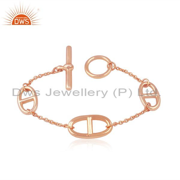 14k rose gold plated 925 silver chain link bracelet manufacturer from india