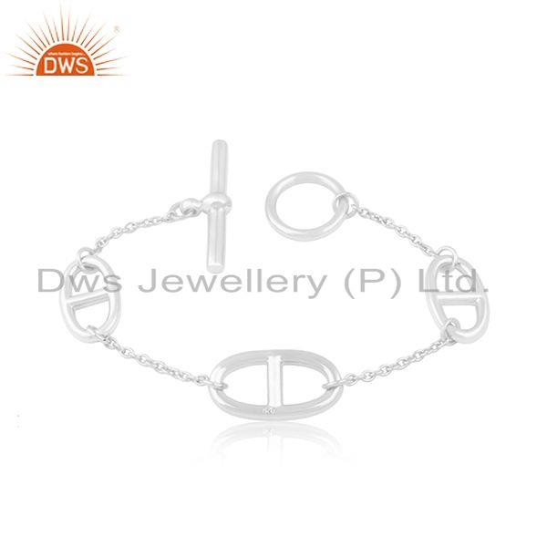 Designer chain link 925 sterling silver bracelet jewelry wholesaler from india