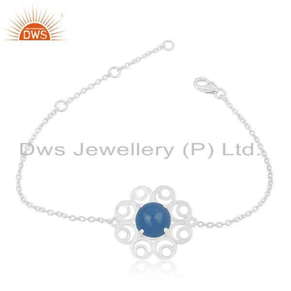 Floral Design 925 Sterling Fine Silver Blue Chalcedony Gemstone Chain Bracelet
