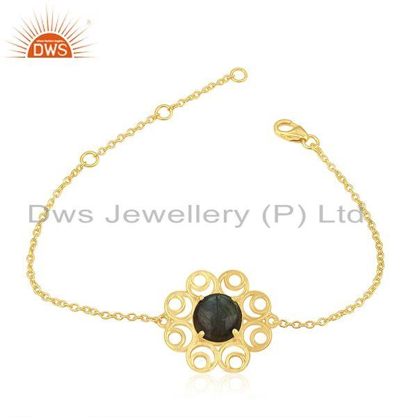 14k gold plated 925 silver natural labradorite gemtone bracelet wholesale
