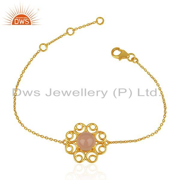 New Designer 925 Silver Gold Plated Rose Chalcedony Gemstone Chain Bracelet