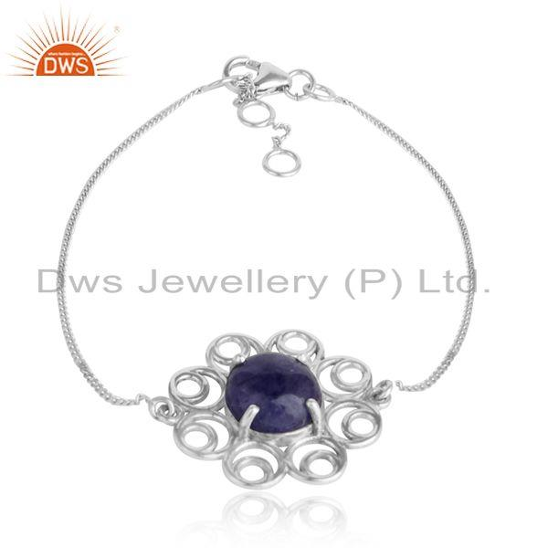 Floral White Rhodium Plated Silver Tanzanite Gemstone Bracelets
