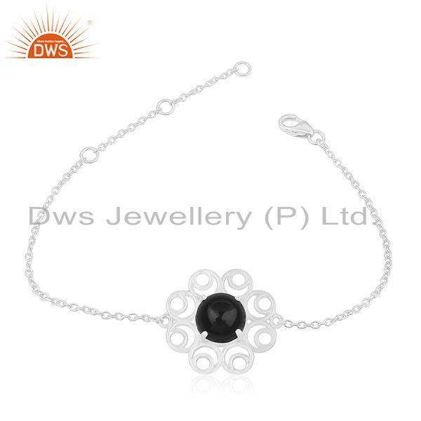 Black Onyx Gemstone 925 Silver Floral Design Bracelet Manufacturer for Brands