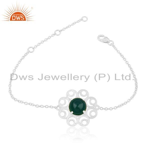 92.5 sterling silver floral design green onyx gemstone bracelet for girls