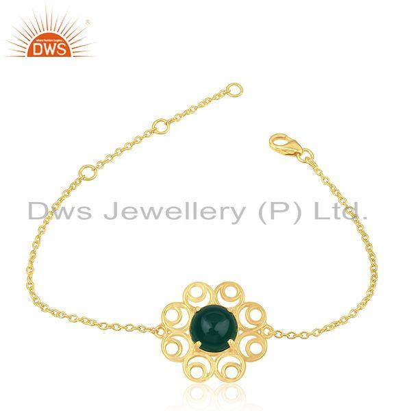 92.5 Silver Gold Plated Green Onyx Gemstone Floral Design Bracelet Manufacturers