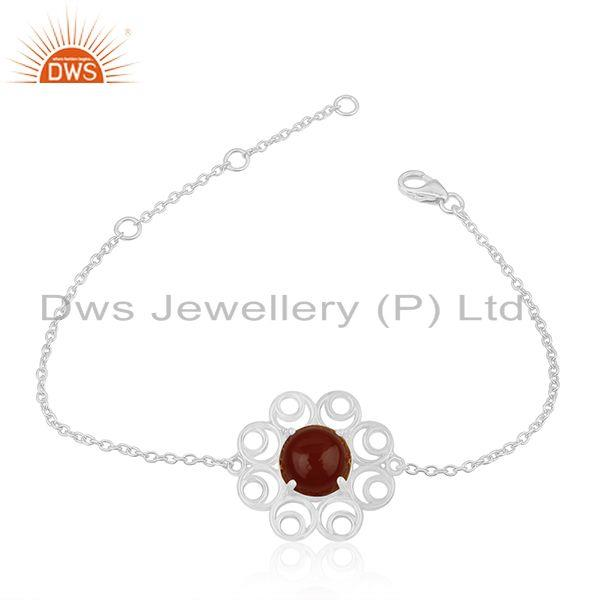 925 Sterling Silver Red Onyx Gemstone Designer Chain Bracelet For Womens
