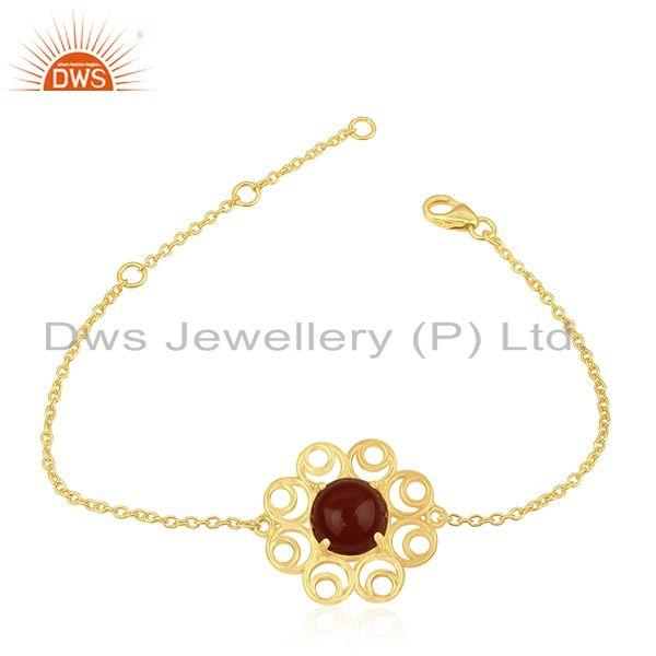 Red Onyx Gemstone Gold Plated 925 Silver Designer Chain Bracelet for Womens