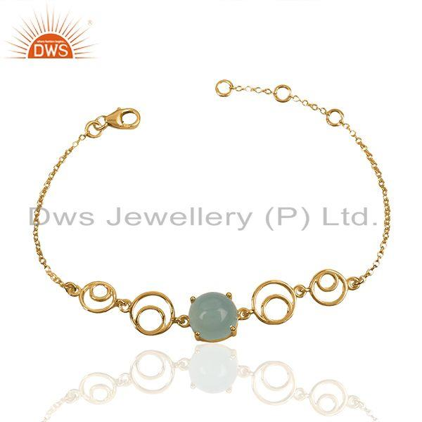 Abstract Round Design 18k Gold Plated 925 Silver Aqua Chalcedony Gemstone Chain Bracelet Jewelry