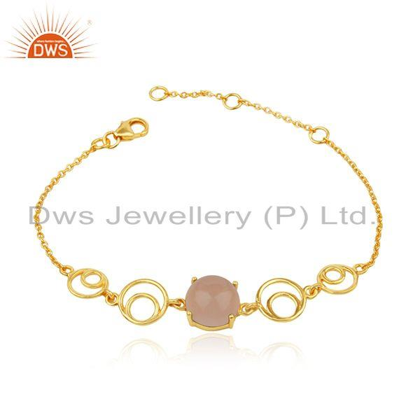 Rose chalcedony gemstone gold plated sterling silver chain bracelet