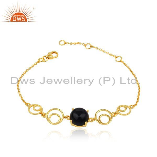 Genuine black onyx gemstone sterling silver gold plated chain bracelet