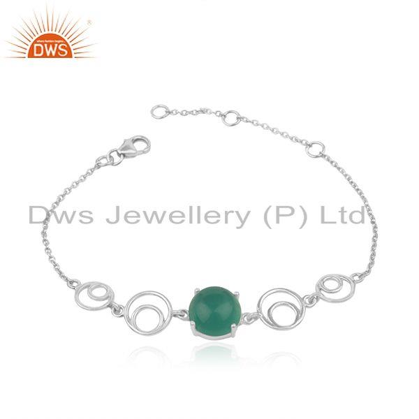 Genuine green onyx gemstone sterling fine 925 silver chain bracelet