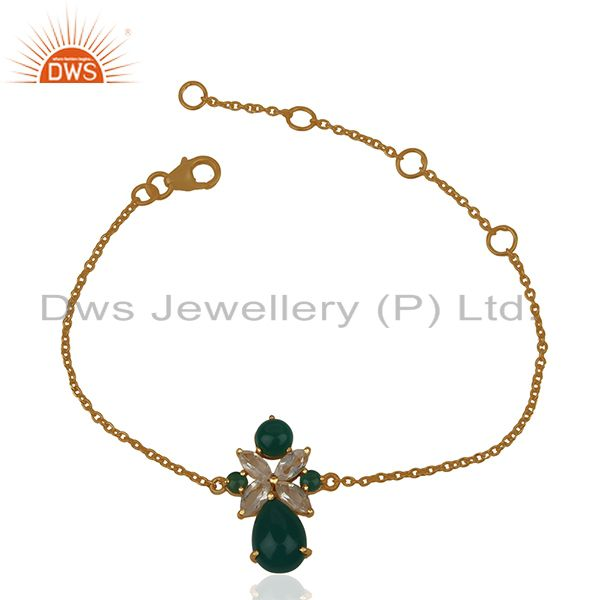 Crystal Quartz and Green Onyx Gemstone 925 Silver Bracelet Wholesale