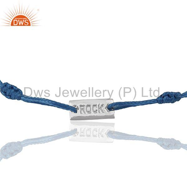 Rock Engraved Solid 925 Sterling Silver Macrame Bracelet Wholesale
