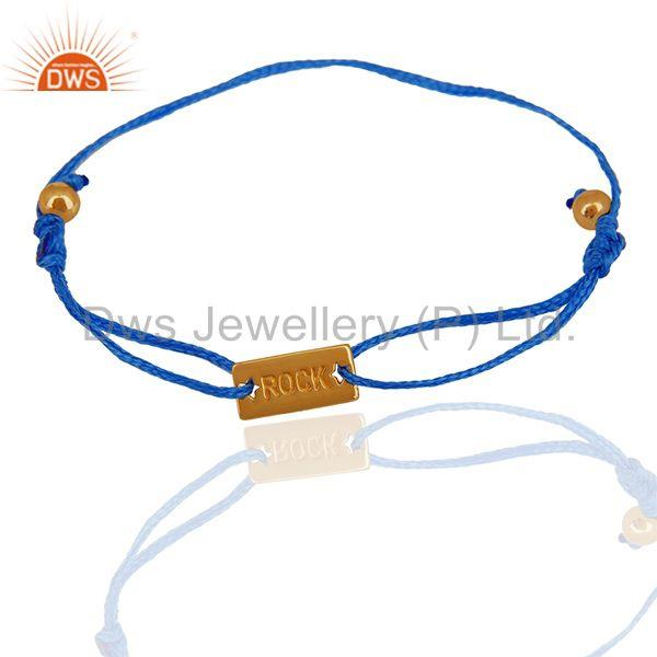 Handmade Blue Cotton Dori 925 Silver Adjustable Bracelet Wholesale