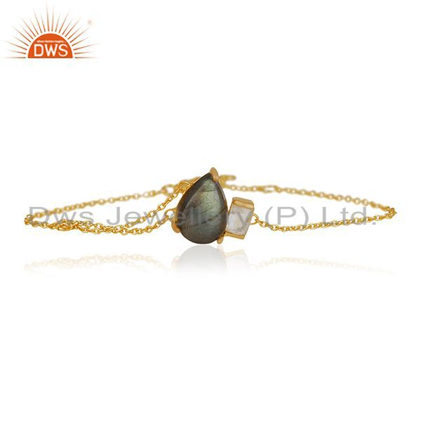Labradorite Gemstone 92.5 Silver Gold Plated Chain Bracelet Jewelry