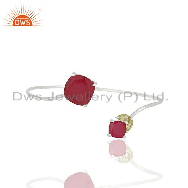 Ruby and Peridot Gemstone 925 Silver Cuff Bracelet Manufacturer
