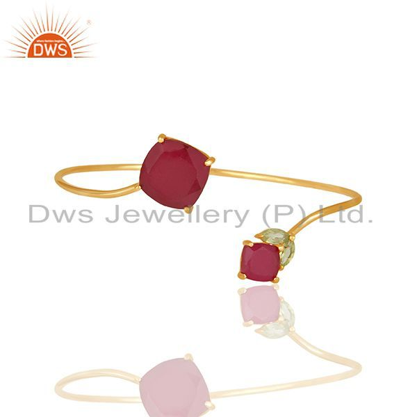 Multi Gemstone 925 Silver Gold Plated Cuff Bracelet Manufacturer