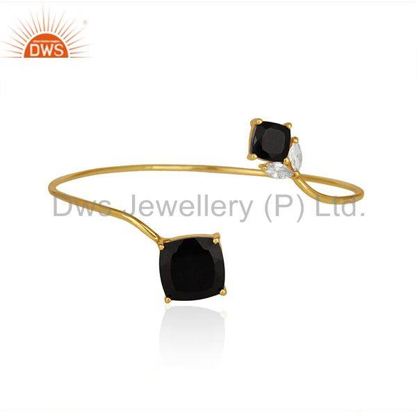 18k Gold Plated Sterling Silver Black Onyx Gemstone Cuff Bracelet Manufacturer