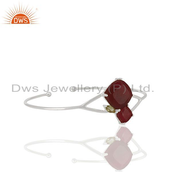 925 Silver Peridot and Red Ruby Gemstone Cuff Bracelet Wholesale